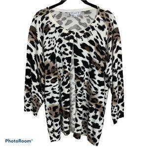 Susan Graver Tiger Print Cardigan Sweater